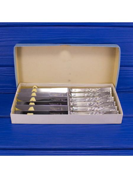 Набор из шести посеребренных ножей в коробке