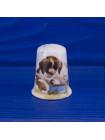 Коллекционный наперсток с щенком и кроликом