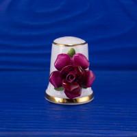 Роскошный коллекционный наперсток от ROYALE STRATFORD с объемными цветами, декорированными вручную