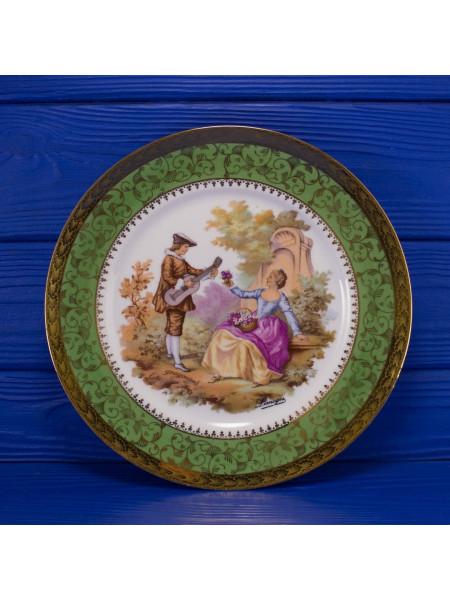 Тарелка с зеленым ободком Limoges⠀
