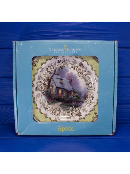 Комплект из четырех больших тарелок Spode, с изображением уютных домиков художника Thomas Kinkade