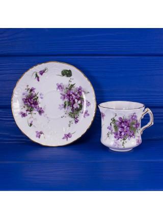 Чайная пара Spode дизайн Victorian Violets с фиалками