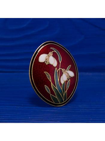 Брошь позолоченная от Fish, в технике перегородчатая эмаль с цветами