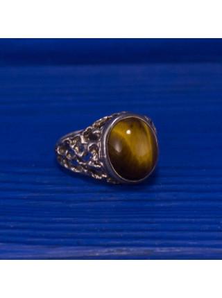Кольцо серебряное с тигровым глазом