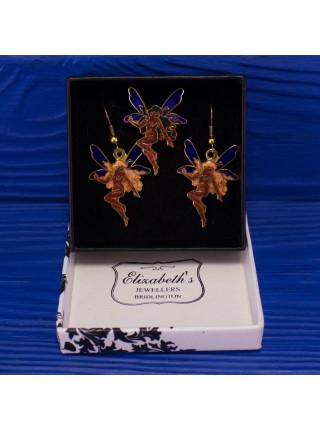 Очаровательный комплект клуазоне с феечками - серьги и брошь