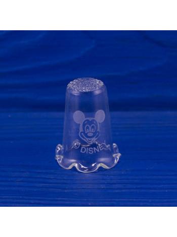 Коллекционный наперсток из стекла с нарядным ободком и  изображением Микки Мауса от Disney