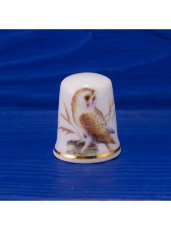 Коллекционный фарфоровый наперсток с совой от Caledonia