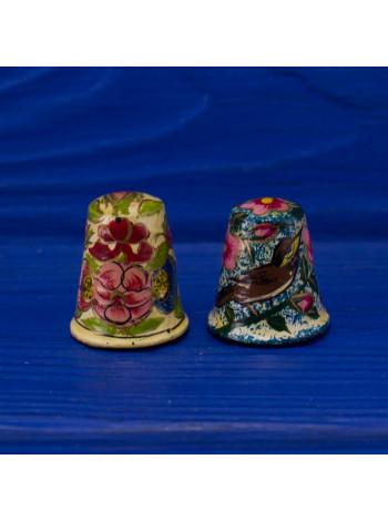 Пара деревянных коллекционных наперстков, расписанных вручную