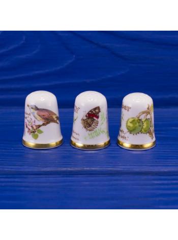 Комплект из трех винтажных коллекционных наперстков: Сентябрь, Июль и Май от Caverswall