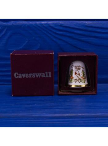 Коллекционный винтажный наперсток Рождество 1980 года от Caverswall в оригинальной коробочке
