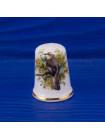 Коллекционный наперсток из костяного фарфора с птицей на ветке