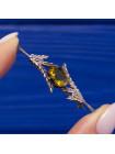 Винтажная шотландская брошь в виде веточек вереска с кристаллом цвета желтого топаза
