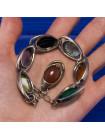 Стильный винтажный браслет с имитацией различных самоцветов