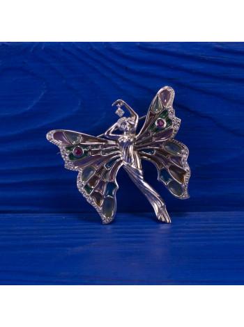 Удивительной красоты брошь в форме феечки с крылышками-витражами