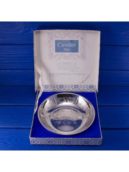 """Посеребренное винтажное блюдо от Cavalier с надписью """"Счастливой годовщины!"""" в оригинальной коробочке"""