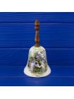 Винтажный коллекционный колокольчик из костяного фарфора с деревянной ручкой с цаплями от Norwich
