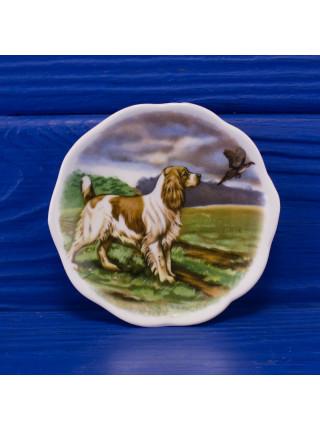 Очаровательное трио миниатюрных фарфоровых тарелочек с собаками от Polly-Anna