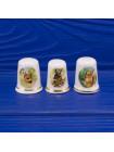 Прелестный комплект из трех фарфоровых наперстков с животными