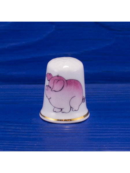Коллекционный английский фарфоровый наперсток со свинкой