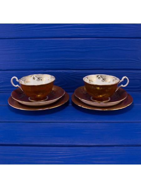 Пара очень красивых винтажных чайных трио Royal Grafton