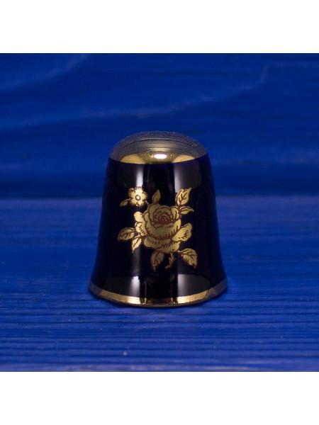 Удивительной красоты наперсток с золотым рисунком розы на кобальте от Limoges