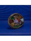 Роскошная дизайнерская брошь в кельтском стиле с самоцветами самых разнообразных оттенков от Miracle