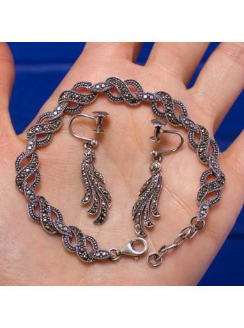 Изысканный серебряный комплект с марказитом: браслет и клипсы с закручивающимся замочком