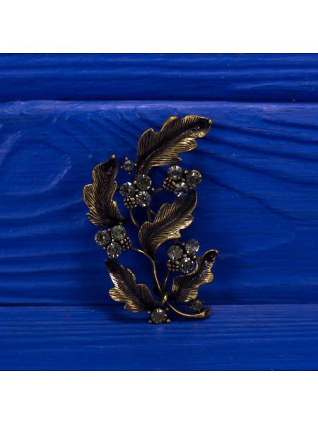 Винтажная брошь в форме листьев дерева, украшенных кристаллами