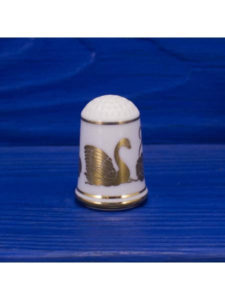 Винтажный коллекционный наперсток Franklin Mint с золотым изображением лебедя, цветов и бабочки