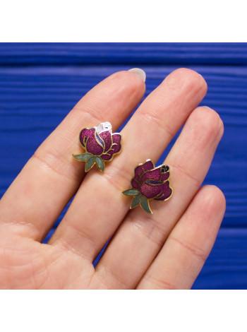 Нарядные серьги-пусеты в форме бутона розы от Fish
