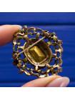 Роскошная винтажная брошь из Англии с крупным кристаллом цвета сапфира
