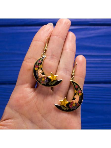 Нарядные серьги с единорогами в цветах, качающимися на месяце