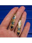 Нарядные серьги в кельтском стиле, выполненные в технике перегородчатая эмаль от Sea Gems