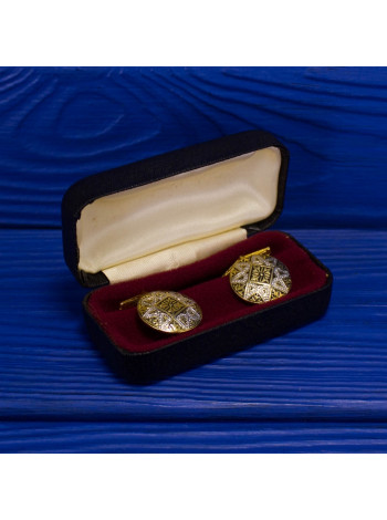 Изысканные запонки, выполненные в стиле дамаскин (Толедо), украшенные перламутром), 1970-е годы