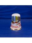Винтажный фарфоровый наперсток, выпущенный в честь Рождества 1990 года от Birchcroft