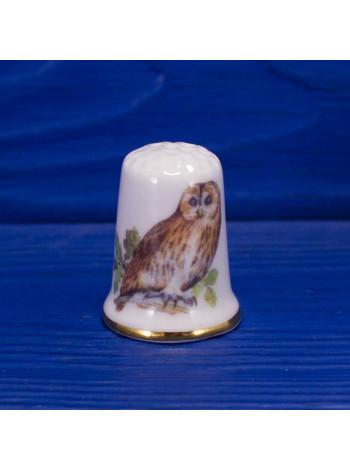 Коллекционный фарфоровый наперсток с совой от Barbacombe Pottery