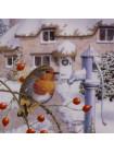 "Тарелка Hammilton Collection номер 0099 с сертификатом ""Frosty Morning"" коллекционной серии Robins Christmas"