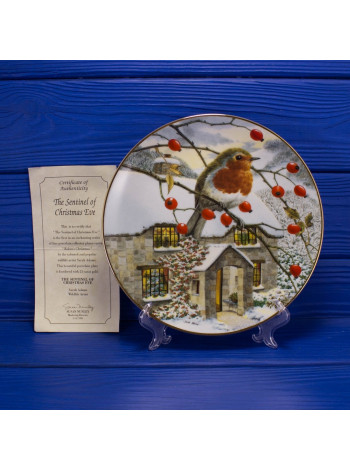 "Тарелка Hammilton Collection номер 0066 с сертификатом ""Sentinel of Christmas Eve"" коллекционной серии Robins Christmas"