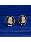 Винтажные запонки с мужскими профилями в стиле 18-го века редкого дизайна от Wedgwood