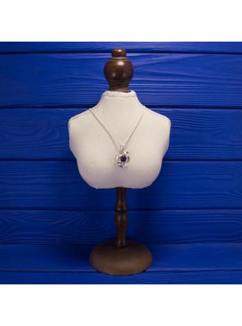 Стильная серебряная подвеска/брошь с аметистом