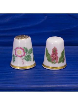 Пара винтажных наперстков коллекционной серии Цветок Года от Spode