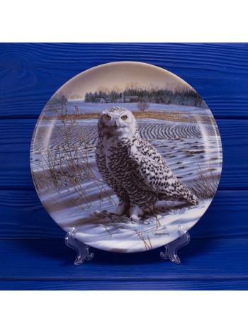 """Тарелка с белой совой серии The Stately Owls от Knowles с сертификатом и брошюрой 15869B """"The Snowy Owl"""""""