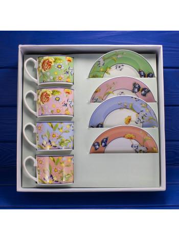 Подарочный набор из четырех фарфоровых чашек с блюдцами дизайна Regal Cottage Garden от Aynsley