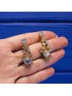 Искрящиеся винтажные клипсы с подвижной подвеской, украшенные бусинами Aurora Borealis