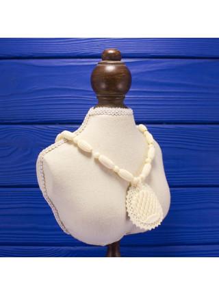 Резные винтажные бусы из кости с крупной подвеской, напоминающей павлиний хвост