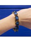 Элегантный винтажный браслет из Англии с камнями - имитацией кошачьего глаза