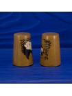 Пара коллекционных винтажных наперстков с пандами из древесины смаковницы