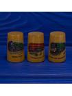 Трио коллекционных винтажных наперстков ограниченной серии из древесины смаковницы с паровозами