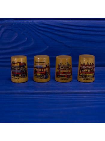 Квартет коллекционных винтажных наперстков ограниченной серии из древесины смаковницы с паровозами