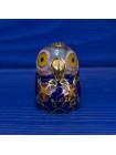 Крупный коллекционный наперсток клуазоне в форме головы совы, нарядно украшенный эмалью